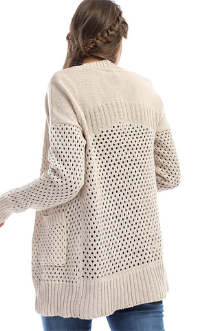 41690 Just For You Beige Knit Breathable Cardigan