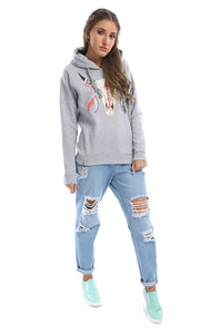 41692 Comfiest-Pull-Print Light Grey Hoodie