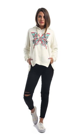 41693 Butterfly Casual Side Zipped Sweatshirt - Off White