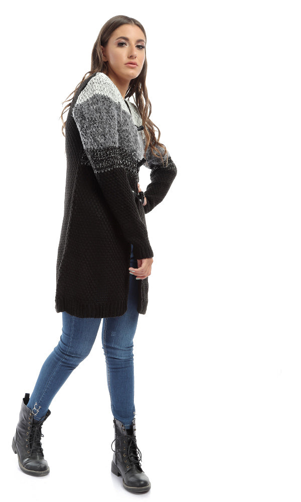 knitted cardigan - black & grey