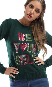 41724 Strassed BE YOURSELF Trendy Pullover - Green