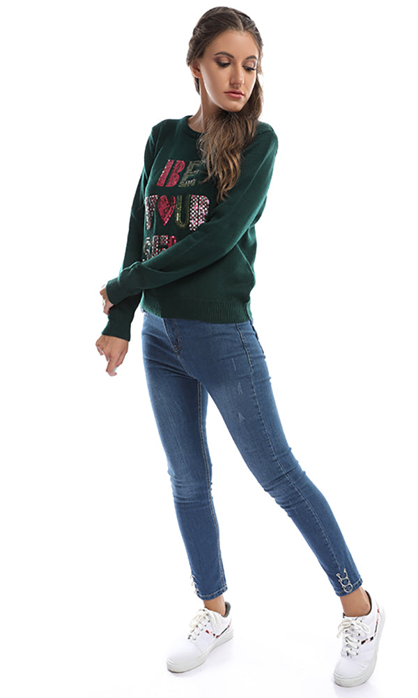 """be your self"" pullover - dark green"
