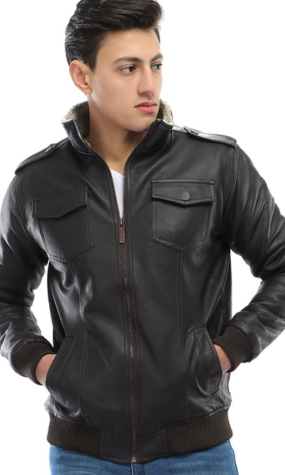 41739 Padded Fur Leather Jacket - Dark Brown