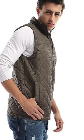 41745 Elegant Padded Sleevless Vest - Olive Green