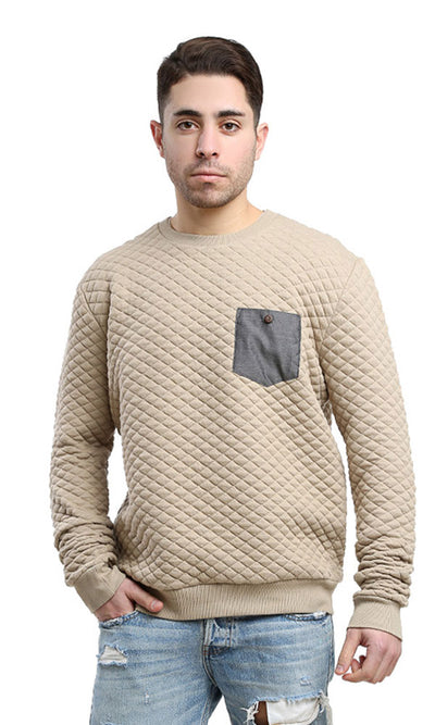 41747 Rounded Casual Sweatshirt - Beige