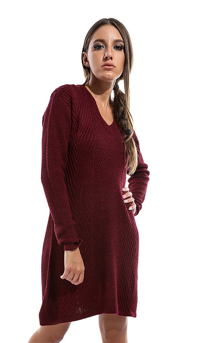 41750 Unique Solid Long Sleeves Pullover - Maroon