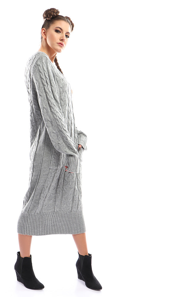 41753 Solid Dress Grey With Two Pockets