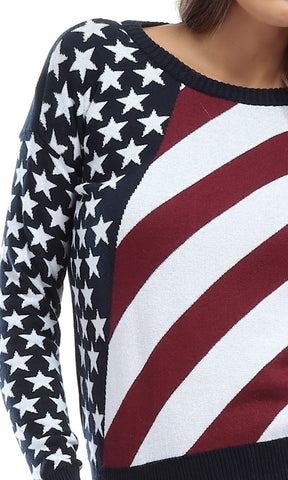 41754 America Flag Rounded Casual Pullover - Navy Blue