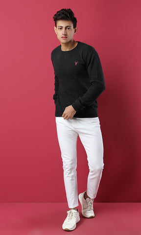 41756 Casual Long Sleeves Basic Pullover - Heather Black
