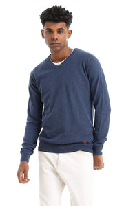 41757 Solid Basic V-Neck Long Sleeves Pullover - Heather Navy Blue