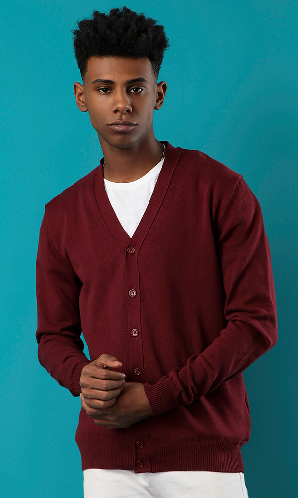 Long Sleeves Buttoned Maroon Cardigan