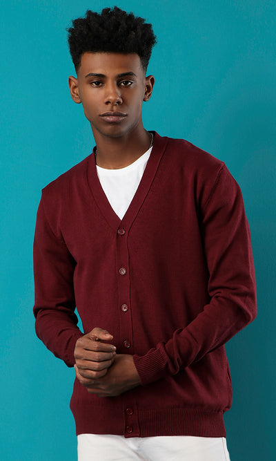 41763 Maroon Basic Deep V-Neck Cardigan