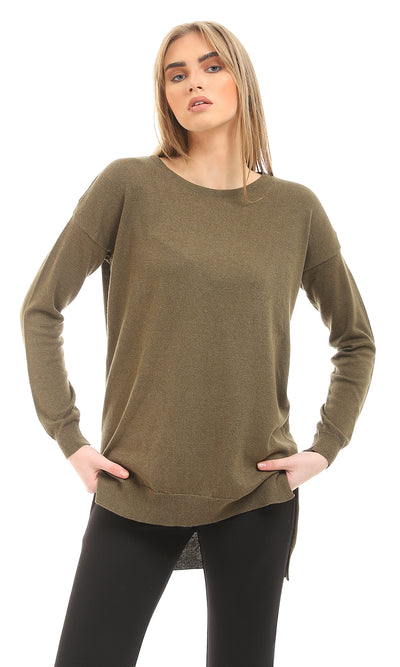 41767 Hi-Low Basic Dark Olive Pullover