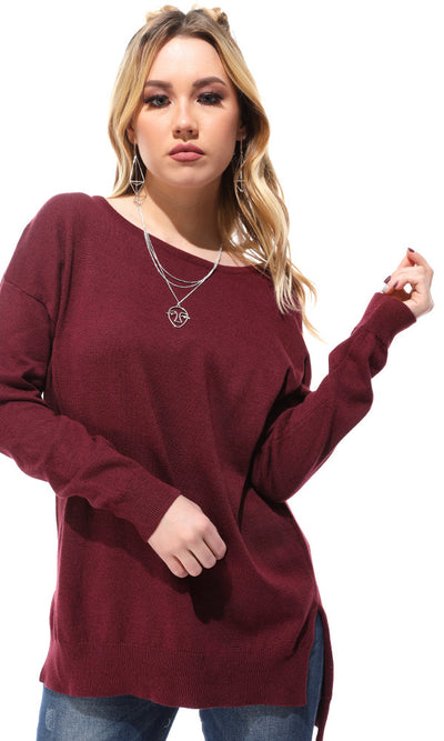 41768 Round Neck Hi-Low Burgundy Pullover