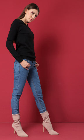 41769 V-Neck Basic Casual Pullover - Black