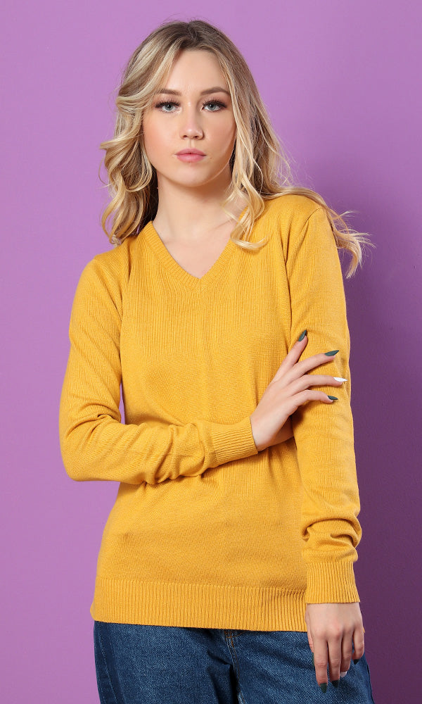 41771 Plain V-Neck Long Sleeves Pullover - Mustard