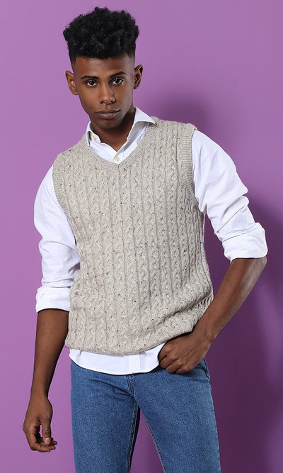 Smart Casual Patterned Beige Sleevless Pullover - male vest