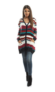 41782 Striped Casual Cardigan - Multicolour