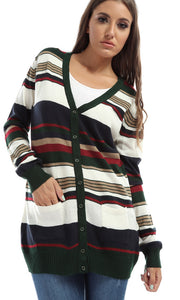Striped Buttoned Casual Cardigan - White & Green