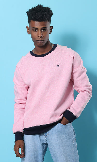Round Solid Pink Casual Sweatshirt - male hoodies & sweatshirts