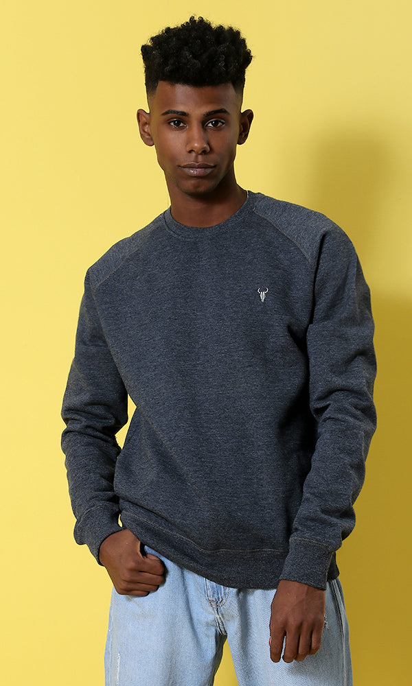 Elegant Solid Sweatshirt - Navy Blue