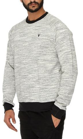 41789 Round Neck Sweatshirt - Heather Grey & Black