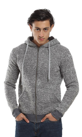 41795 Zipped Casual Winter Sweatshirt - Heather Grey
