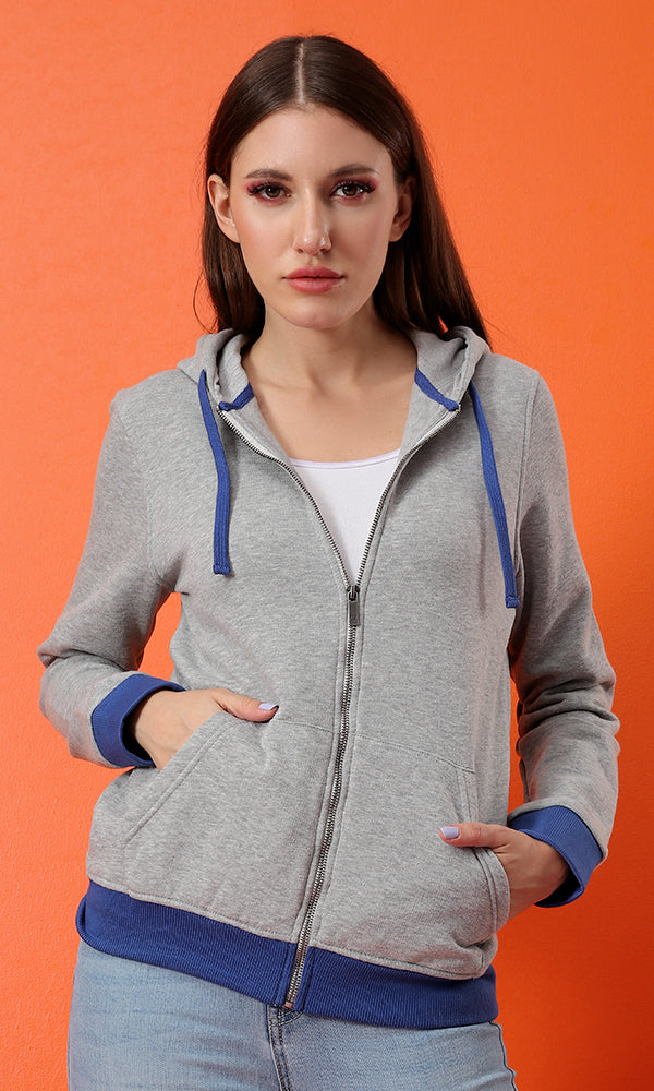 Colorful Zipped Hoodie - Navy Blue