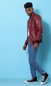 Zipped Leather Jacket - Burgundy - male coats & jackets