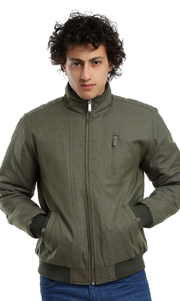 zipped long sleeves casual jacket - olive