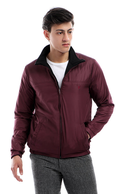 41818 Double Face Zipped Maroon & Black Waterproof Jacket
