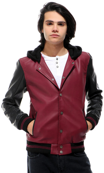 41820 Leather Hooded Neck Wine Jacket