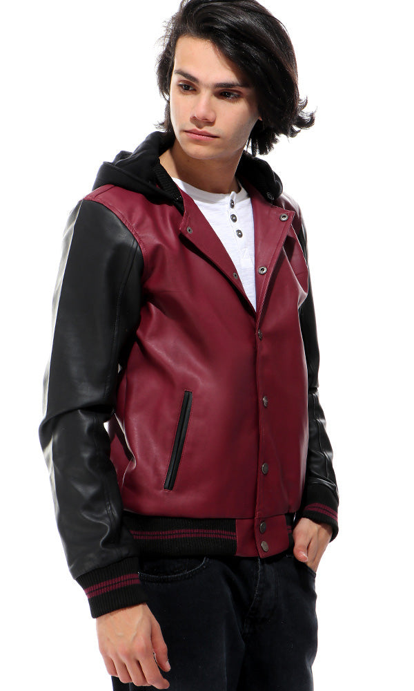 Leather Buttoned Jacket - Wine & Black