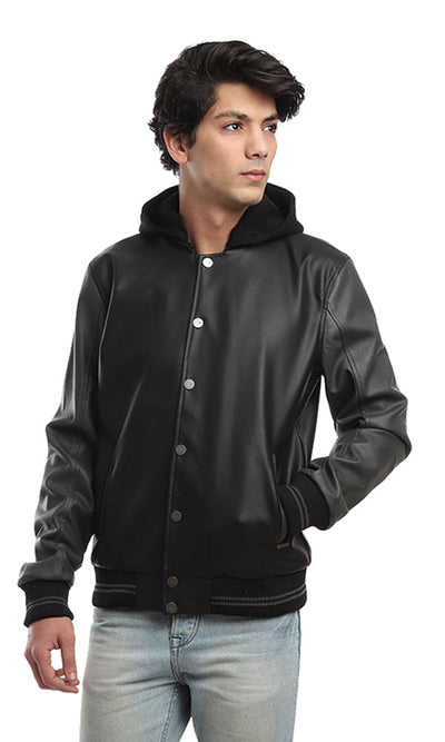 41821 Leather Magnetic Buttons Jacket - Black