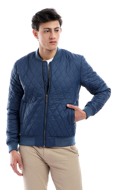 41822 Stitched Zipped Casual Long Sleeves Petroleum Jacket