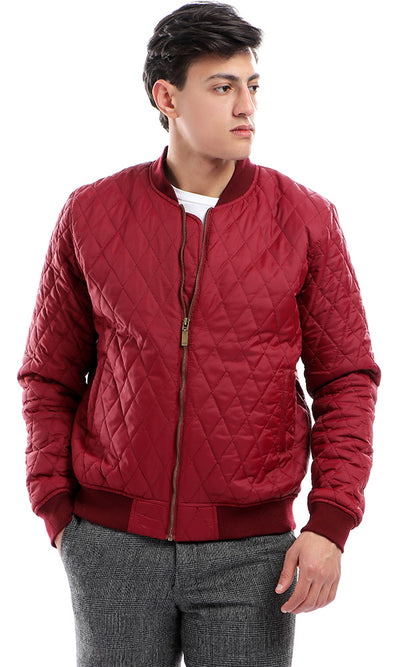 41823 Stitched Long Sleeves With Hem Burgundy Bomber Jacket