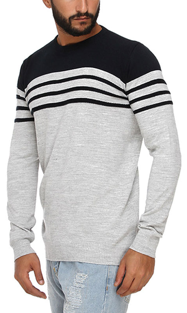 Casual Striped Pullover - Heather Grey & Navy Blue