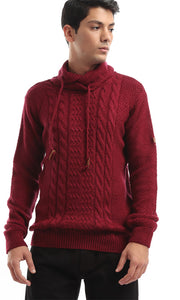 41832 Folded Back Collar Plain Maroon Pullover