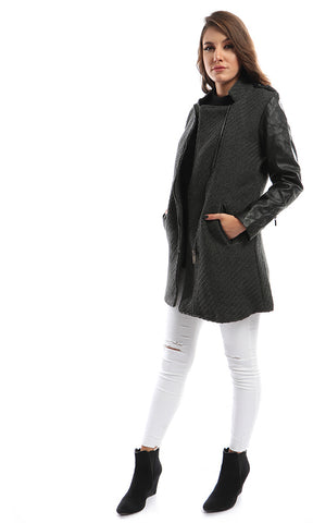 41851 Zipped Grey Winter Coat With Black Leather Sleeves