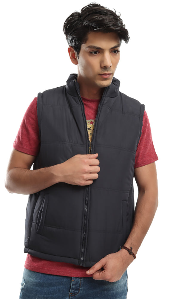 Sleeveless Jacket With Inner Tartan Pattern - Navy