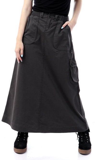 41857 Simple Elastic Waist Fly Zip Charcoal Skirt - Ravin