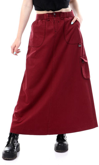 41858 Elastic Waist Fly Zip Button Burgundy Maxi Skirt - Ravin