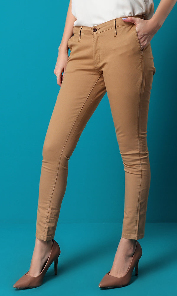Slim Fit Solid Camel Pants