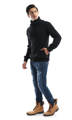 41888 CairoKee Collection Folded Back Collar Navy Blue Pullover
