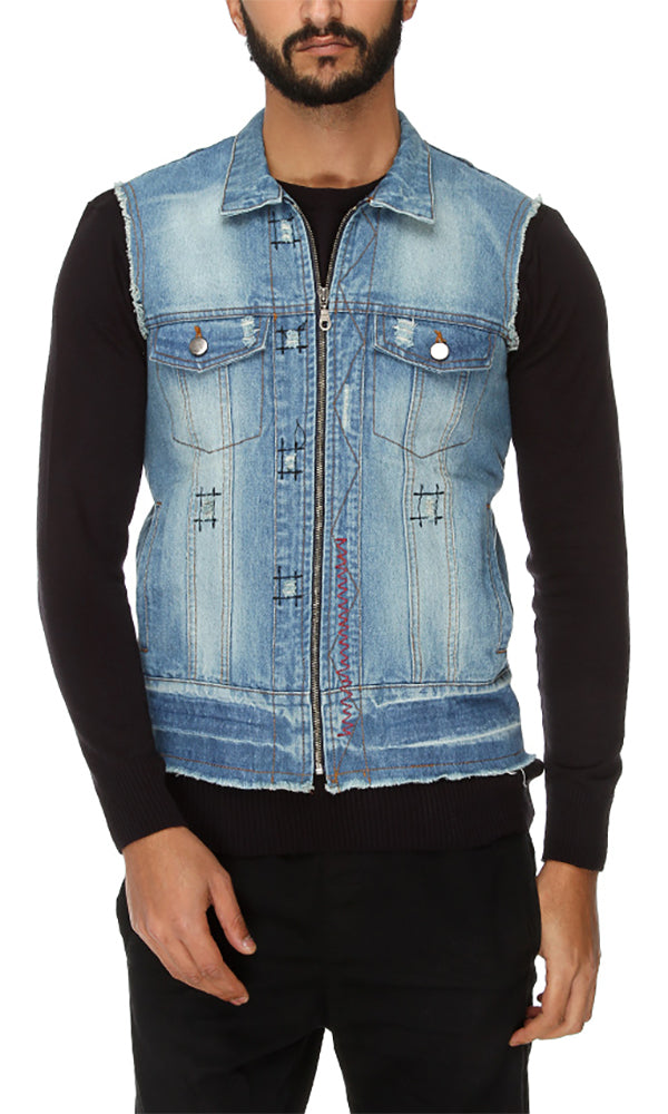 Cairokee Collection Zipped Sleeveless Vest - Light Jeans