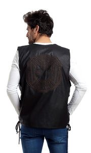 CairoKee Collection Leather Casual Vest - Black