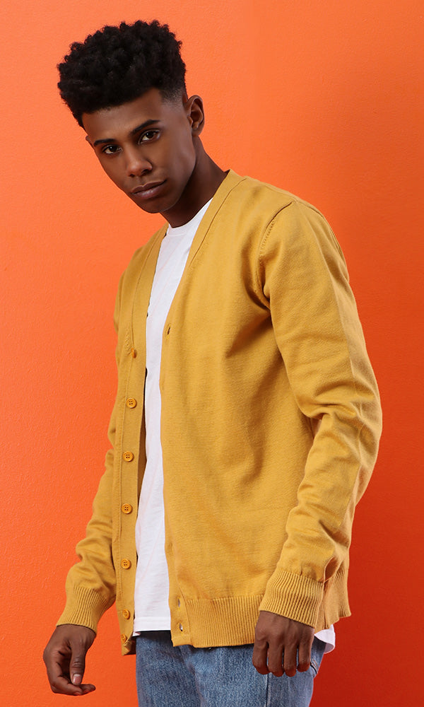 Solid Buttoned Casual Cardigan - Mustard