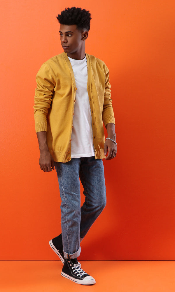 Casual Buttoned Cardigan - Mustard