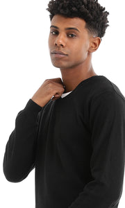 Black Round Solid Slip On Pullover