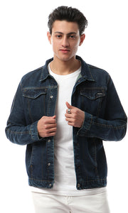 41915 Buttoned Basic Light Wash Denim Jacket